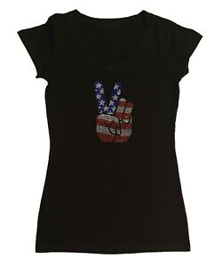 Women's Rhinestone T-Shirt 4th of July Hand Peace Sign in Size - Sm to 3X