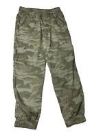🔥 SO Camo Green Casual Pants Elastic Waist & At Ankle Sz M 100% Tencel,Pockets