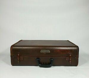 "Vintage Samsonite Brown Suitcase 21"" 1930s 1940s Antique Luggage"