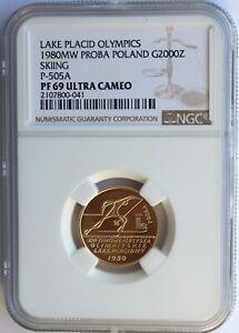 POLAND 1980 MW GOLD PROBA 2000 ZLOTYCH. LAKE PLACID OLYMPICS. NGC PF-69UCAM.