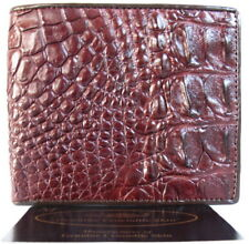 100% GENUINE CROCODILE BACKBONE LEATHER MEN'S BIFOLD WALLET SHINY DARK BROWN NEW