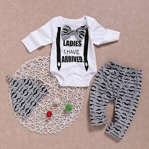 ❤️ 3PCS Newborn Baby Boys Moustache Romper Tops+Pants+Hat Gentleman Outfits Set