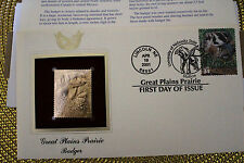 2001 Great Plains Prairie Badger 22kt Gold Golden Cover First Day FDC FDI Stamp