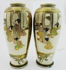 Stunning Pair Of Signed Meiji Period Satsuma Vases. 19cm Tall