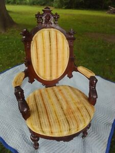 Antique Carved Walnut Chair RARE John Jelliff ? Beautiful lady ! Brass Casters