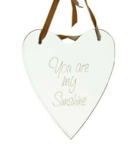 You Are My Sunshine Quote Heart Mirror Velvet Hanging Ribbon Etched Quote