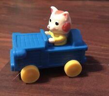 "Vtg Richard Scarry Busy World Cat Kitten Blue Car Toy 1994 McDonalds Figure 2"" L"