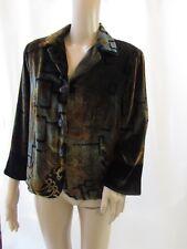 HARARI Silk Blend Abstract Pattern Dark Green Blazer Jacket Size M