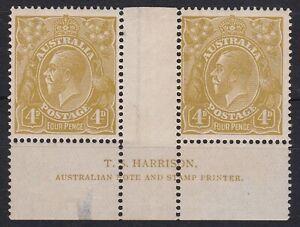 G797) Australia 1924 KGV 4d Olive Single wmk Harrison imprint pair BW 114(3)z