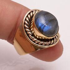 Natural Labradorite Gemstone Ring US Size 6.5, Brass Jewelry Handmade BRR17