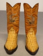 Vintage Joe Boots Western Crocodile Ostrich Clone Embroidery boots men's Us 8.5