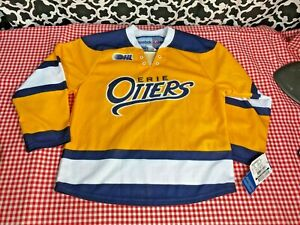 Reebok CHL Erie Otters Yellow Navy YOUTH Replica Jersey - Sz. S/M - NWT