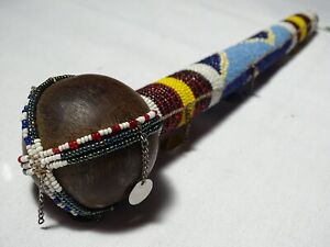 Vintage African Ceremonial Traditional Beaded Decoration Stick (Knobkerrie)