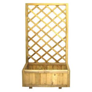 Fioriera rettangolare Merida con pannello grigliato in legno 30x75x150cm esterno