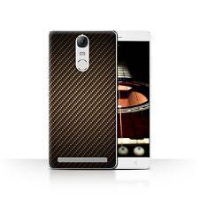 STUFF4 Case/Cover for Lenovo K5 Note/Carbon Fibre Effect/Pattern/Gold