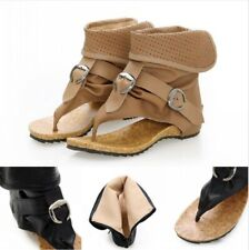 Gladiator Women Flats Sandals Buckle Clip toe Shoes Casual High top Boots Thongs