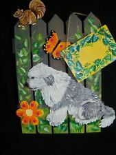 Hp Old English Sheepdog Gate fence Sign painting hand painted dog Art personaliz