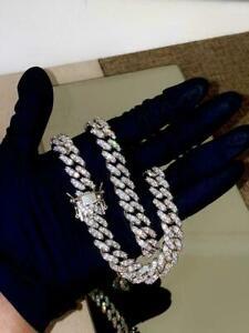 "Cuban Link Mens Chain Round Cut Necklace VVS1 Diamonds 20"" 14k White Gold Finish"