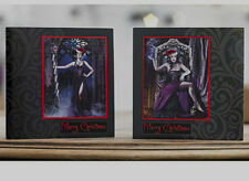 10 PACK Alchemy Gothic Christmas Cards White envelopes TWO DESIGNS GOTH EMO bnip