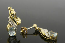 9carat Yellow Gold Aquamarine & Diamond Drop Stud Earrings (7x22mm)