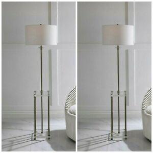 """TWO PALLADIAN MODERN CRYSTAL & METAL 67"""" FLOOR LAMP DRINK TABLE INSPIRED 28415"""