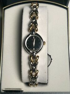 Pulsar Ladies Round Dual Tone Bracelet Watch Black Dial Brand New with Tags