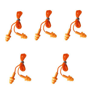 TOURBON 5 Pairs of Reusable Silicone Corded Ear Plugs Hearing Protection Orange