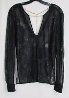 Dolce Vita Black Long Sleeve Lace Top Women's Size Small