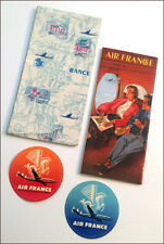Vintage 1955 AIR FRANCE color world route map poster/brochure + folder, stickers