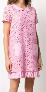LOVE MOSCHINO WOMEN'S FLORAL BRODERIE ANGLAISE PINK SHIFT DRESS SIZE -10/46-$334