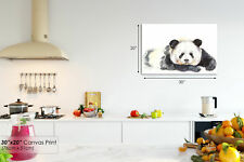 A759 Black White Panda Watercolor Animal Canvas Wall Art Framed Picture Print