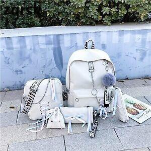 5 Pcs/Set Students Backpack Ribbon Chain Girl Laptop School Book Cute Bag Travel
