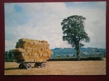 POSTCARD SOCIAL HISTORY HARVEST TIME - BALES PACKED UPON TRAILER
