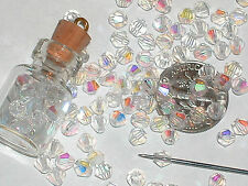 25pc. Swarovski Ab Rainbow clear bicone Crystal beads 4mm great for bottles