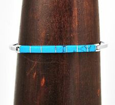 Handmade Silver Turquoise Line Bracelet Taxco Mexico