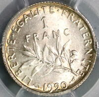 1920 PCGS MS 64 France 1 Franc Last Silver Franc Mint State Coin (16032002D)
