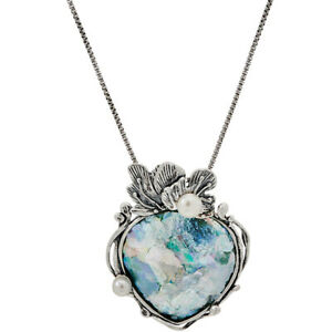 QVC Or Paz Sterling Silver Roman Glass Pendant with Chain $158