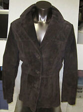 Liz Claiborne Suede 100% Suede Piel De Porchno Jacket Dark Brown Coat Beautiful
