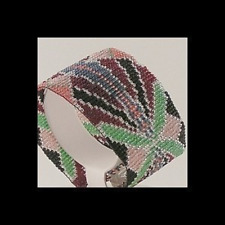1 Drop Odd Count Peyote Bead Pattern - Art Nouveau Mint Cuff Bracelet