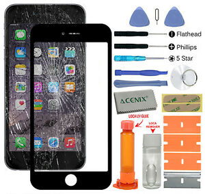 ACENIX Apple iPhone 7 Black Outer Front Glass Screen Replacement Repair Kit