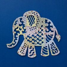 Die Cut Silhouette Tattered Lace Patchwork  Elephant  Card Topper