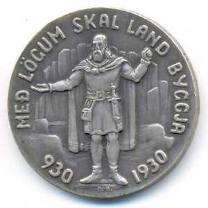 Iceland Medallic 1000 Years Althing Silver 5 Kronur 1930 AU/UNC SCARCE
