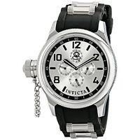 Invicta Men's 1800 Russian Diver Silver Dial Black Polyurethane Watch