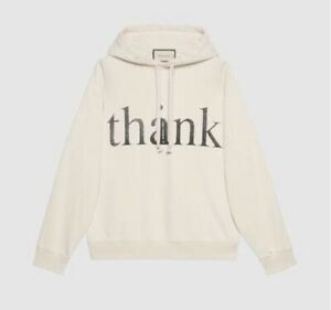 GUCCI 'think/thank' print hooded oversized sweatshirt Small $1250 634674 XJCXL