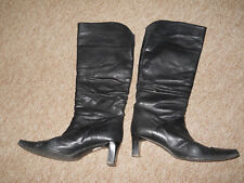 Soft real leather black boots 38 - 5 ruched leg mid heel