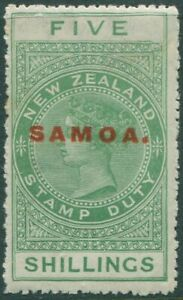 Samoa 1914 SG130 5s yellow-green QV fiscal MH