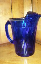 ANTIQUE DEEP COBALT BLUE PITCHER, Hazel Atlas Diamond Quilt Pattern