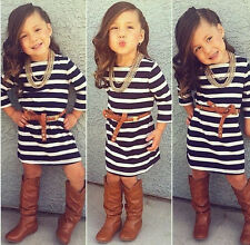 Fashion Kids Baby Girls Long Sleeve Dress + Belt Kids Casual Clothes Outfits 3T
