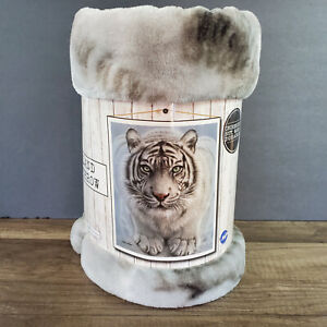 "White Tiger Heartland Plush Throw 50x60"" 100% Polyester Soft & Warm!"