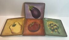 Set of 4 Appetizer Plates (Hand Painted) Toscana Dinnerware by Clay Art